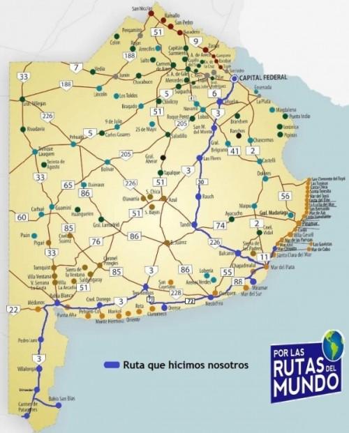 Mapa Buenos Aires Ruta 3 y desvios - Por las Rutas del Mundo