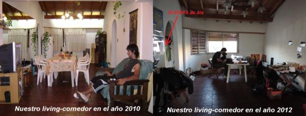 Antes y despues del living comedor