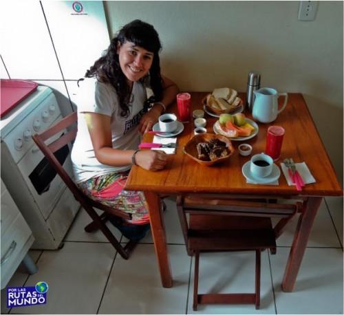 desayuno vegano en pousada rosa verde