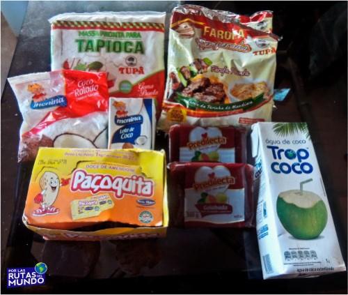 productos brasileros que son parte de nuestro menu diario - tapioca farofa pacoquita dulce de gobaida